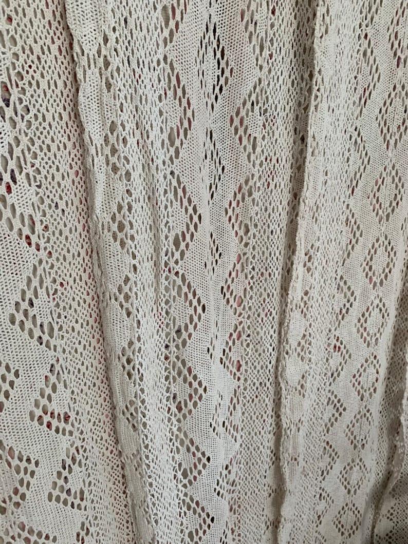Stunning set four ecru beige Crochet tassel curtains antique French shabby Nordic chic BoHo Window panels netted