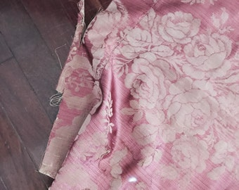 Two rare antique pink taupe french victorian 1800s silk rose ribbon fabric curtain panel tattered worn shabby Nordic chic Ashwell