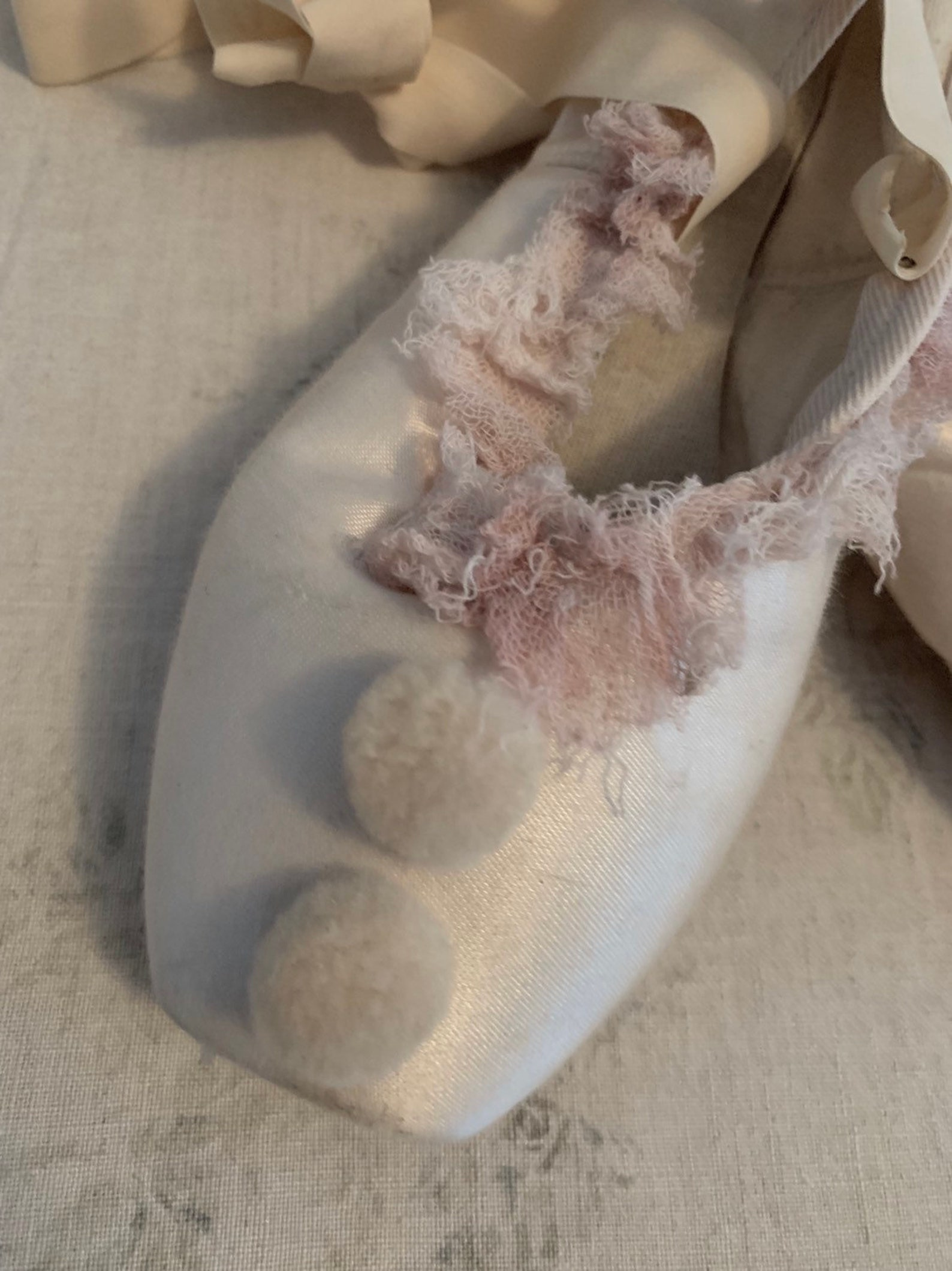 vintage pale pink tulle pierrot ballet ballerina costume slippers pointe toe shoes theater pompom clown shabby french nordic chi