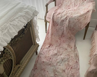 Gorgeous rare antique pale pink french rose floral fabric ikat cotton linen table runner tablecloth cloth watercolor