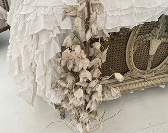 Rare huge antique French flower bouquet shabby cottage chic lily white gold Garland