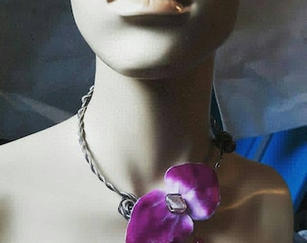 Anastasie necklace,pink orchid,aluminium,glass beads,romantic,OOAK