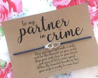 Partners In Crime Wish Bracelet Best Friend Gift Friendship