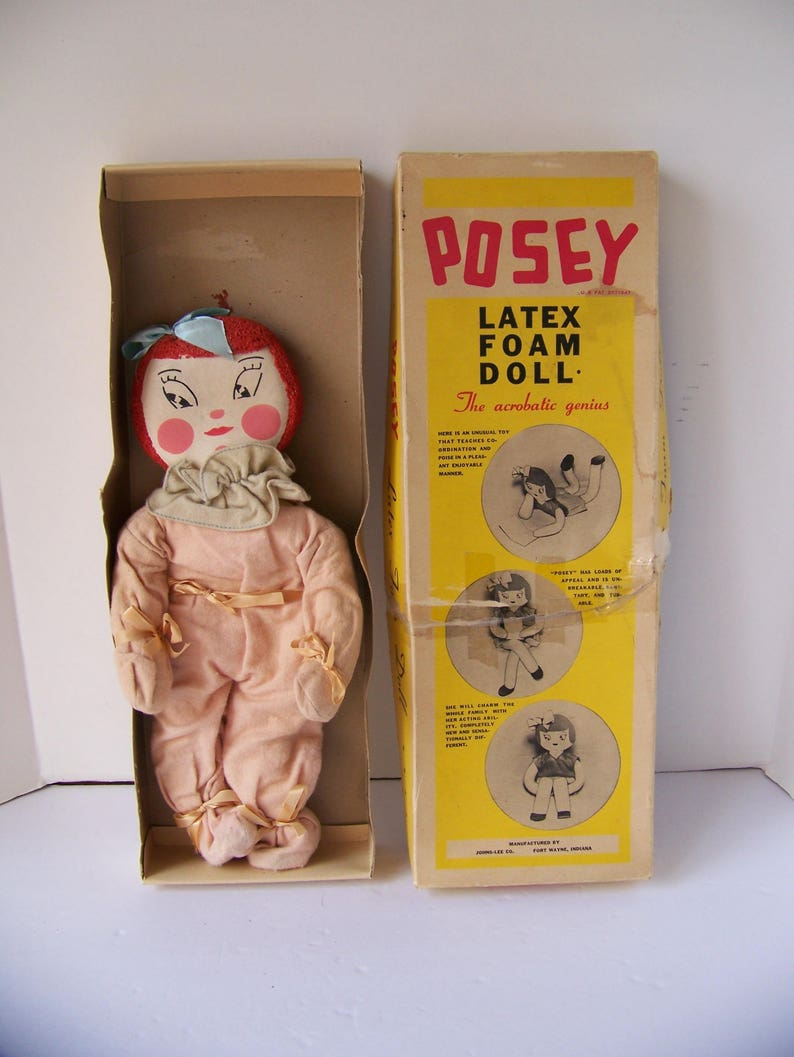 Vintage Rare Posey Latex Foam Doll in Original Box 1937 The Acrobatic  Genius Depression Era Toy Collectible Doll Made in Fort Wayne,Indiana