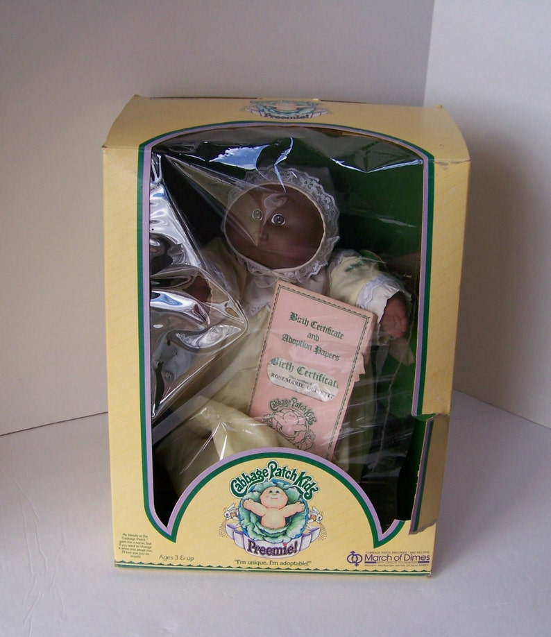 Vintage Cabbage Patch Kid Preemie in Original Box 1984 African American  Cabbage Patch Doll Collectible Doll Preemie Doll Cabbage Patch Kids