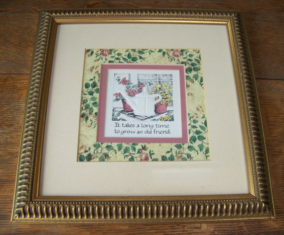 Vintage Framed Friendship PictureFriend Birthday GiftHand