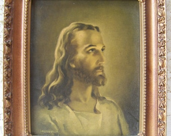 Vintage Picture of Jesus Copyright 1941. Litho in USA.Kriebel and Bates.Christian Home Decor.Jesus Christ Art.Vintage Framed Picture.