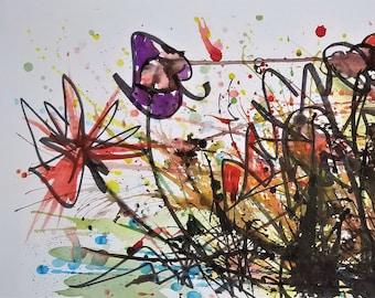 Graffiti Flowers - Original Watercolor