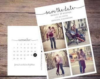 Save the Date Postcard, Save-the-Date Card, Calendar, 4 Photos, DIY Printable, Digital File – Henley