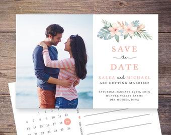 Tropical Save the Date Postcard, Destination Wedding, Hawaiian Save-the-Date Card, Postcard, Photo, DIY Printable, Digital File - Kalea