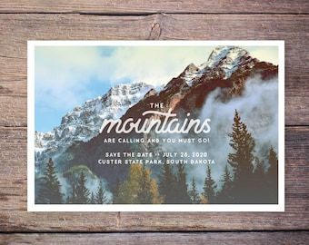 Mountain Destination Wedding Save the Date Postcard, Destination Wedding Outdoor Save the Date Invitation, Vintage Card – Forest