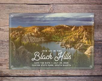 Destination Wedding Save the Date Postcard, Destination Wedding Outdoor Save the Date Invitation, Vintage Card – Black Hills