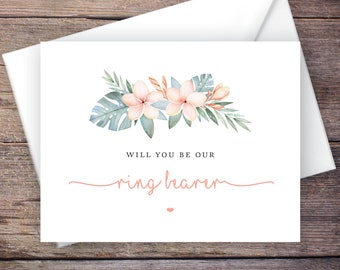Printable Will You Be Our Ring Bearer Card, Tropical Ring Bearer, Instant Download Greeting Card, Wedding Card – Kalea
