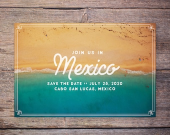 Beach Wedding Save the Date Postcard, Destination Wedding Beach Save the Date Beach Invitation Coast Waves Chic Vintage Card – Mexico