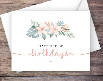 Printable Greenery Happy Birthday Greeting Card, Tropical Instant Download Greeting Card, Birthday Card – Kalea