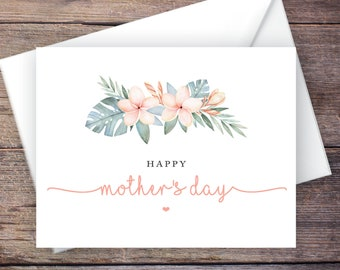 Printable Tropical Happy Mother's Day Card, Greenery, Instant Download Greeting Card, Mother's Day Greeting Card – Kalea