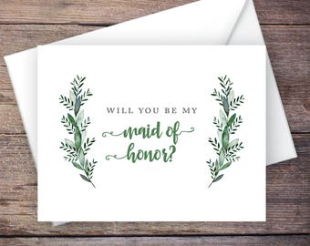 Printable Will You Be My Maid of Honor Card, Greenery, Instant Download Greeting Card, Will You Be My Bridesmaid, Wedding Card – Monroe
