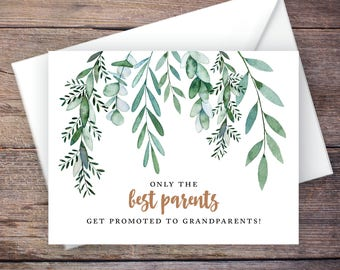 Greenery Printable Only the Best Parents Get Promoted to Grandparents Pregnancy Announcement, Botanical, Instant Download Card – Delilah