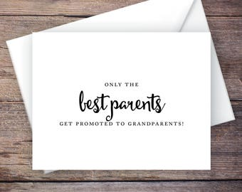 Printable Only the Best Parents Get Promoted to Grandparents Pregnancy Announcement, Script, Instant Download Card - Carmen