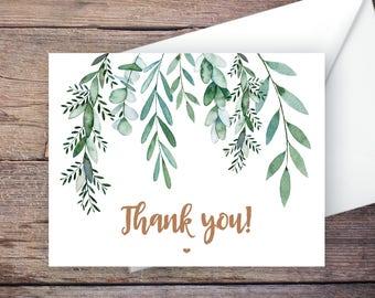 Greenery Thank You Card, Botanical, Garden Wedding, Printable Instant Download Greeting Card, Instant Download, Wedding Card - Delilah