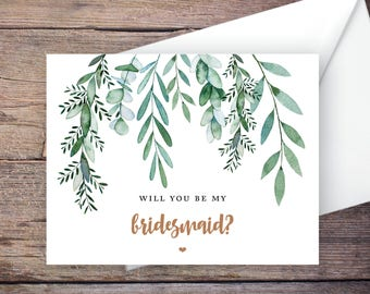 Printable Green Garden Will You Be My Bridesmaid Card, Greenery, Instant Download Greeting Card, Be My Bridesmaid, Wedding Card – Delilah