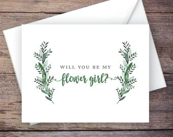Garden Wedding Be My Flower Girl Card, Printable, Instant Download Greeting Card - Will You Be My Flower Girl, Wedding Card – Monroe