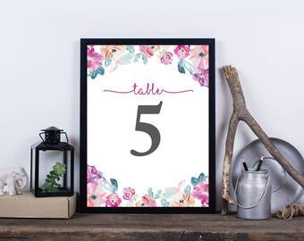 Printable Wedding Table Numbers, Floral Table Numbers for Wedding, Party Table Numbers, Instant Download Table Numbers - Harper