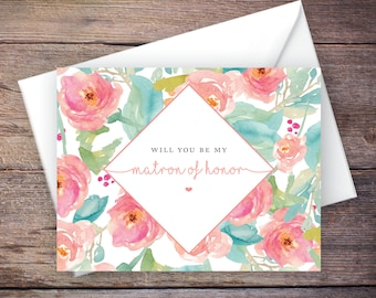 Printable Will You Be My Matron of Honor Card, Instant Download Greeting Card, Will You Be My Bridesmaid, Wedding Card - Tallulah