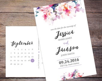 Floral Save the Date, Flowers, Summer Watercolor Flower, Save-the-Date Card, Postcard, DIY, Printable Digital File – Jessica