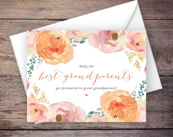 Printable Only the Best Grandparents Get Promoted to Great Grandparents Pregnancy Announcement, Flowers, Instant Download – Madison