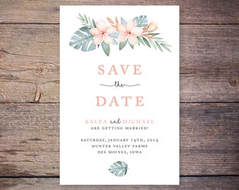 Destination Save the Date Postcard, Tropical Wedding, Hawaiian Save-the-Date Card, Postcard, Photo, DIY Printable, Digital File - Kalea