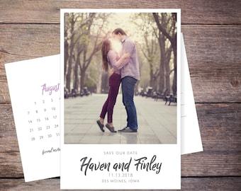 Save the Date Postcard, Save-the-Date Card, Calendar, Photo, DIY Printable, Digital File – Haven