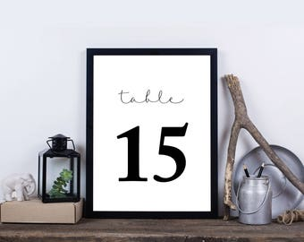 Party Table Numbers, Black and White Table Number 1-30, Print at Home Digital File - Brynley