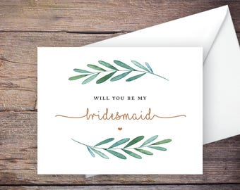 Printable Green Garden Will You Be My Bridesmaid Card, Greenery, Instant Download Greeting Card, Be My Bridesmaid, Wedding Card – Waverly
