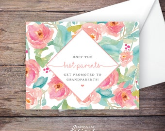 Printable Pregnancy Announcement, Only the Best Parents Get Promoted to Grandparents, Peach Watercolor Flowers, Instant Download – Tallulah