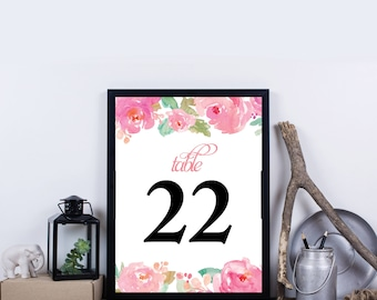 Printable Wedding Table Numbers, Floral Table Numbers for Wedding, Party Table Numbers, Instant Download Table Numbers - Marla