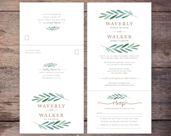 Seal and send etsy printable garden wedding seal and send invite botanical greenery send n seal wedding invitation all in one invitation waverly filmwisefo