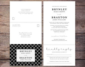 Seal and send etsy printable classic black and white seal and send wedding invite send n seal wedding invitation all in one invitation brynley filmwisefo