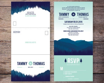 Seal and send etsy printable seal and send wedding invite blue mint mountain forest all in one wedding invitation very economical tammy filmwisefo