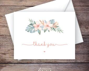 Greenery Thank You Card, Botanical, Garden Wedding, Printable Instant Download Greeting Card, Instant Download, Wedding Card - Waverly