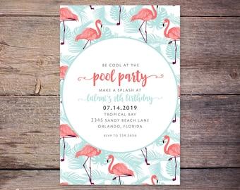 Flamingo Birthday Invitation Card, Printable Tropical Pool Birthday Party Invite, Summer, Tropical, Hawaiian Party Invitation –Emery