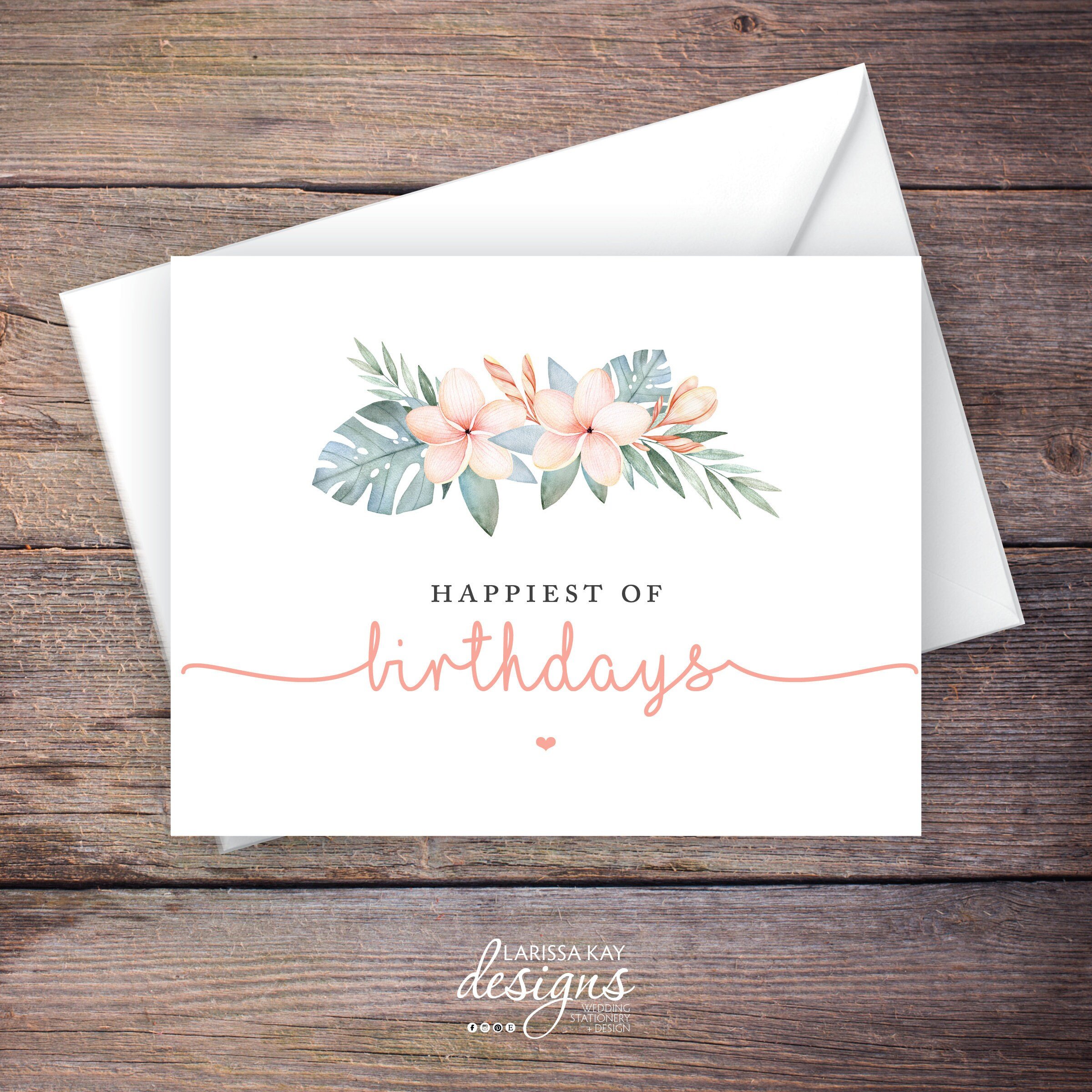 Printable Greenery Happy Birthday Greeting Card Tropical Etsy
