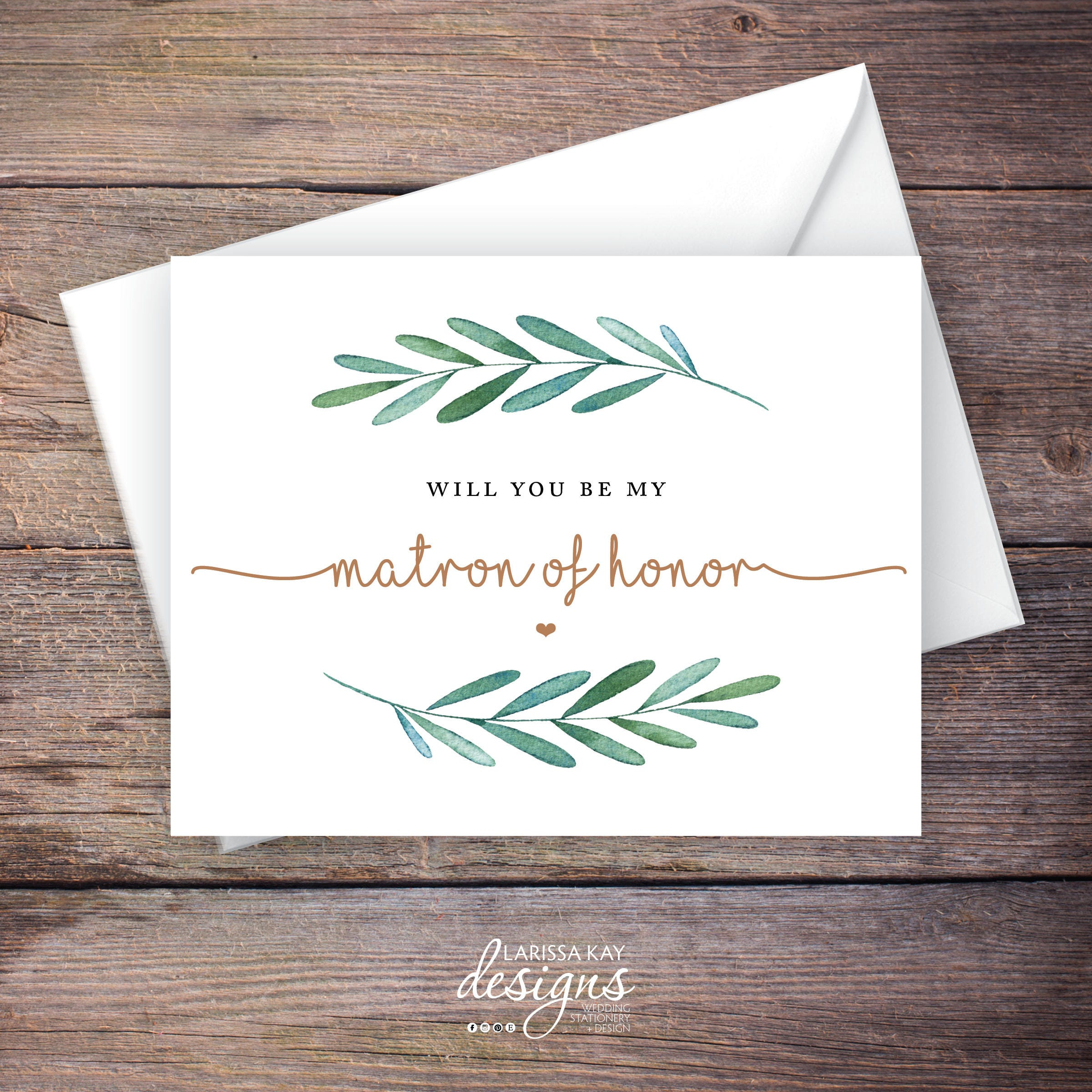 Greenery Will You Be My Matron Of Honor Card Printable Etsy