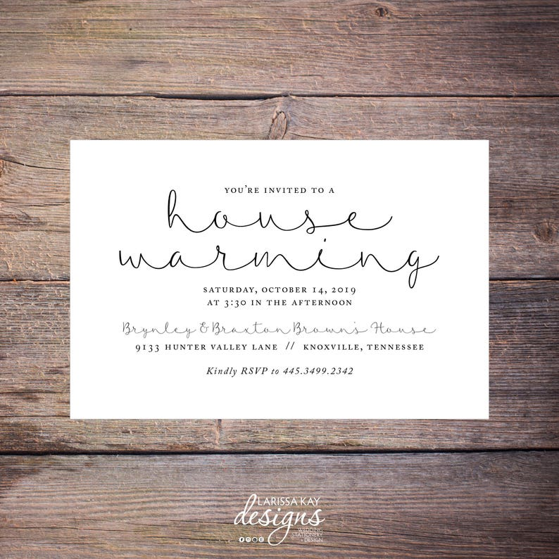 photograph relating to Printable Housewarming Invitations titled Printable Home Warming Invites, Clic Black and White, Bash, Print at Dwelling Fresh Property Invite Brynley