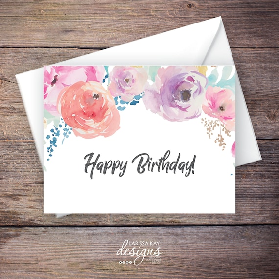 Printable Floral Happy Birthday Greeting Card Instant Etsy