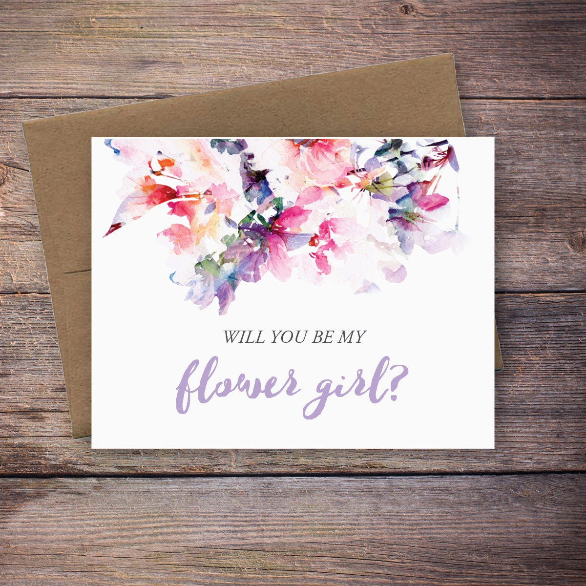 Printable Will You Be My Flower Girl Card Instant Download Etsy