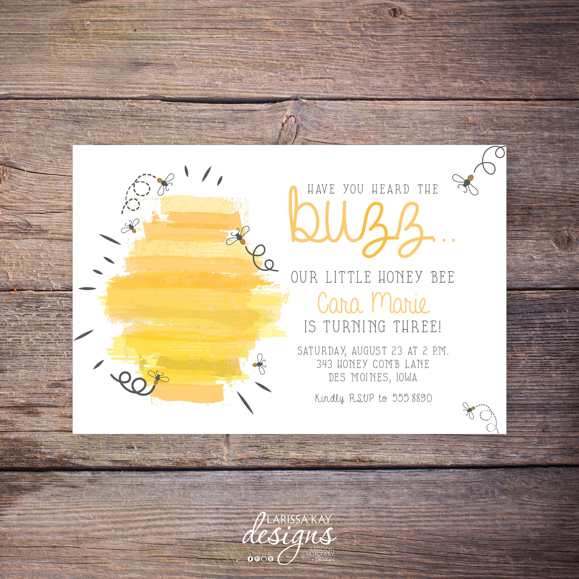 Bumble Bee Birthday Invitations Printable Bumble Bee Party | Etsy