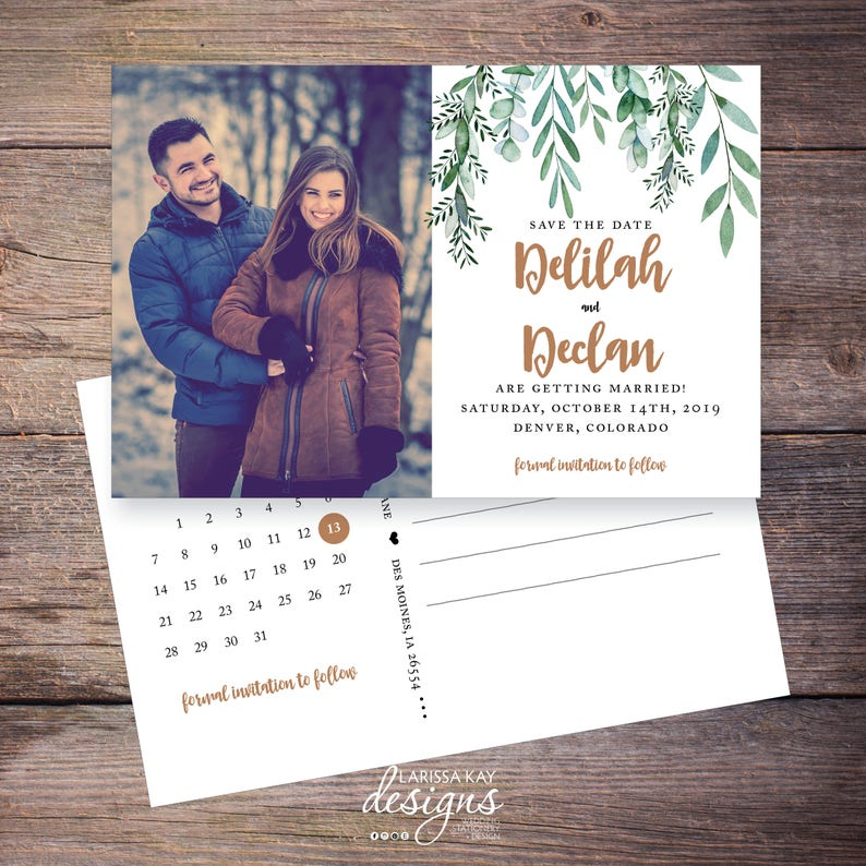 Greenery Save the Date Postcard Postcard DIY Printable Garden Wedding Photo Digital File Save-the-Date Card Delilah
