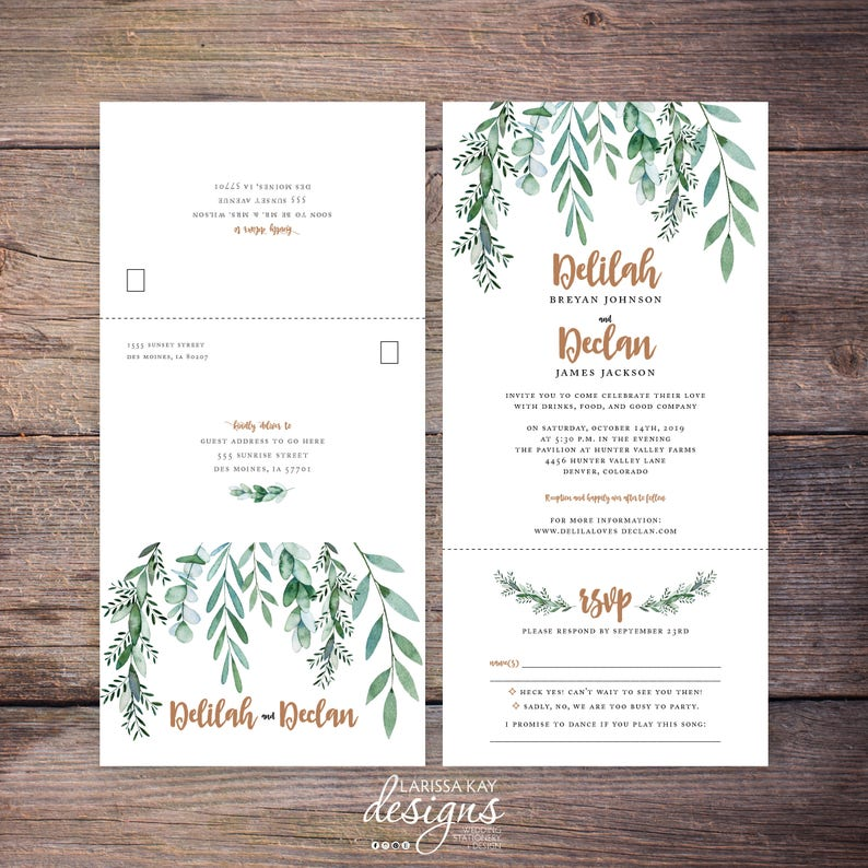 Seal And Send Wedding Invitations.Printable Greenery Seal And Send Wedding Invite Botanical Garden Wedding Send N Seal Wedding Invitation All In One Invitation Delilah