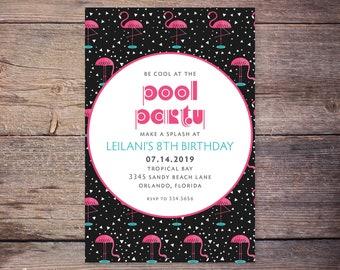 Tropical Birthday Invitation Card, Printable Flamingo Birthday Party Invite, Summer, Tropical, Hawaiian Party Invitation –Emery